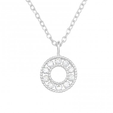 Circle - 925 Sterling Silver Necklace with stones A4S39712