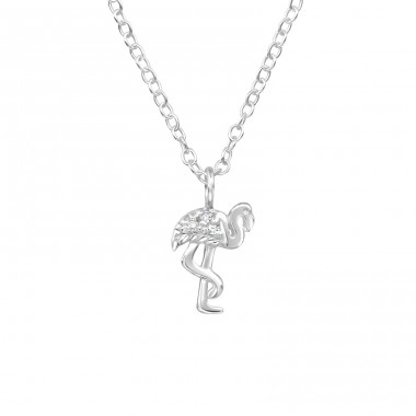 Flamingo - 925 Sterling Silver Necklace with stones A4S39785