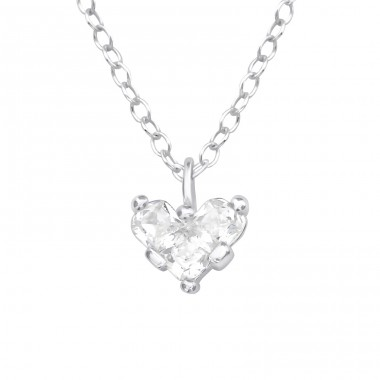 Heart - 925 Sterling Silver Necklace with stones A4S39786