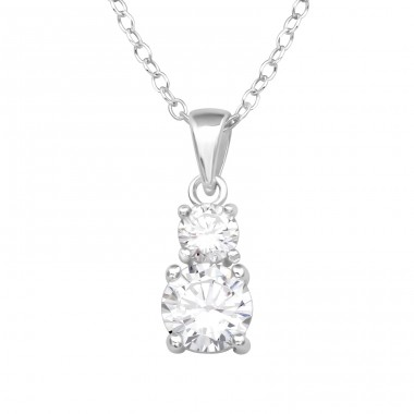 Round Zirconias on eachother - 925 Sterling Silver Necklace With Stones A4S39803
