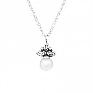 Oxidized antique shape with pearl - 925 Sterling Silver Necklace With Stones A4S39862