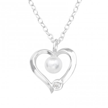 Heart - 925 Sterling Silver Necklace with stones A4S39888