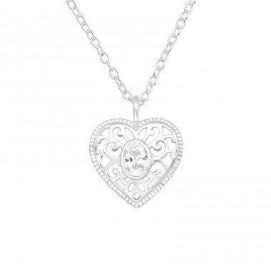 Heart with zirconia in the middle - 925 Sterling Silver Necklace With Stones A4S40147