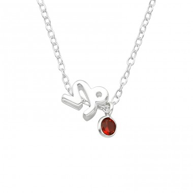 Capricorn Zodiac Sign - 925 Sterling Silver Necklace with stones A4S40157