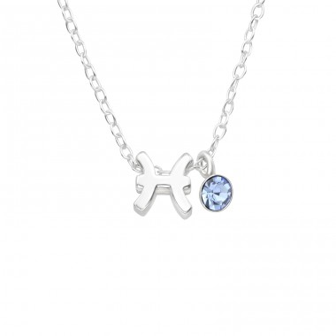 Pisces Zodiac Sign - 925 Sterling Silver Necklace with stones A4S40160