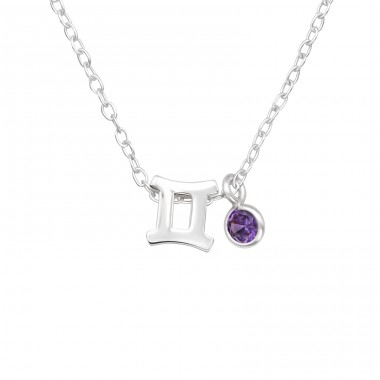 Gemini Zodiac Sign - 925 Sterling Silver Necklace with stones A4S40164