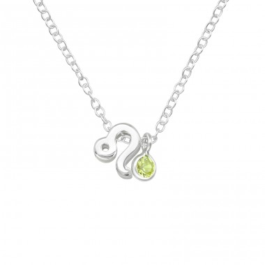 Leo Zodiac Sign - 925 Sterling Silver Necklace with stones A4S40170