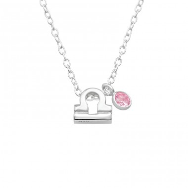 Libra Zodiac Sign - 925 Sterling Silver Necklace with stones A4S40175