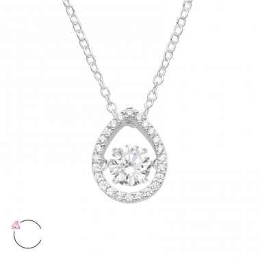 "Pear with Swarovski ""dancing"" zirconia stone - 925 Sterling Silver Necklace With Stones A4S40183"