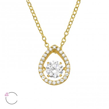 "Pear With Swarovski ""Dancing"" zirconia stone - 925 Sterling Silver Necklace With Stones A4S40186"