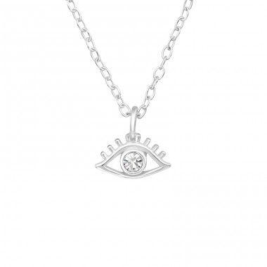 Evil Eye - 925 Sterling Silver Necklace with stones A4S40188