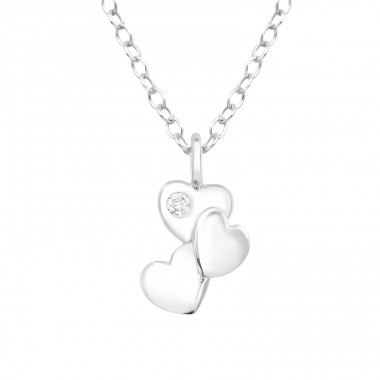 Triple Heart - 925 Sterling Silver Necklace with stones A4S40190