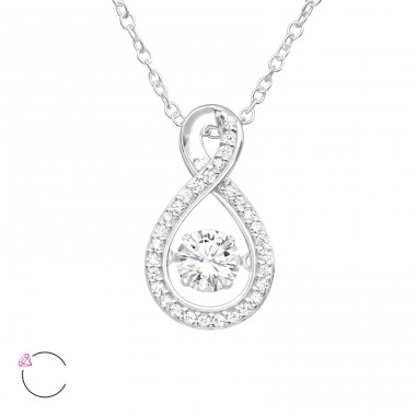 "Pear With Swarovski ""Dancing"" zirconia stone - 925 Sterling Silver Necklace With Stones A4S40191"