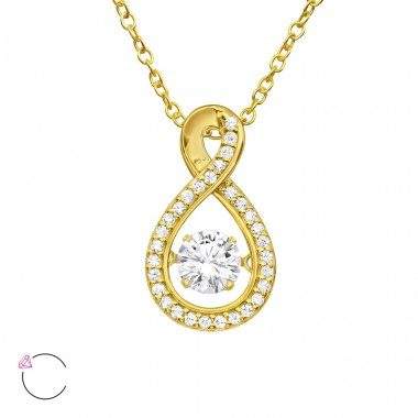 "Pear With Swarovski ""Dancing"" zirconia - 925 Sterling Silver Necklace With Stones A4S40194"