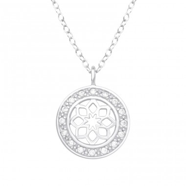Flower - 925 Sterling Silver Necklace with stones A4S40196