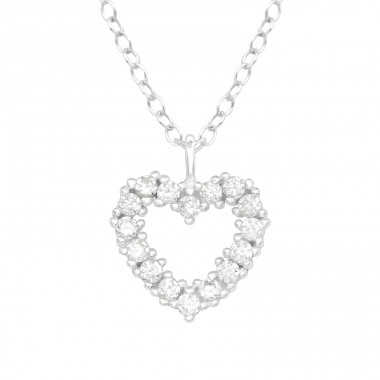 Heart - 925 Sterling Silver Necklace with stones A4S40198