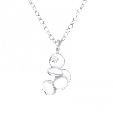 Abstract - 925 Sterling Silver Necklace with stones A4S40200