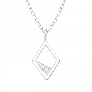 Rhombus - 925 Sterling Silver Necklace with stones A4S40202