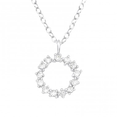 Sparking circle - 925 Sterling Silver Necklace With Stones A4S40203