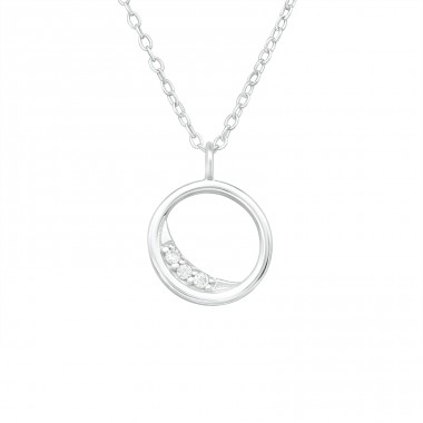 Crescent Moon - 925 Sterling Silver Necklace with stones A4S40204