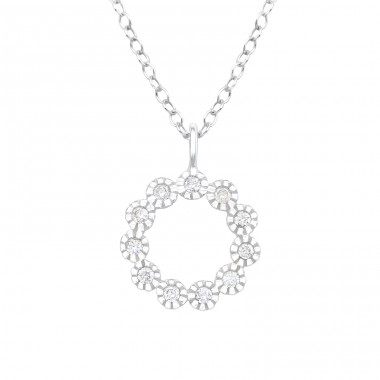 Flower - 925 Sterling Silver Necklace with stones A4S40205