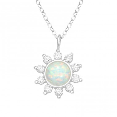 Flower - 925 Sterling Silver Necklace with stones A4S40209