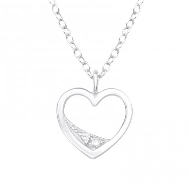 Heart - 925 Sterling Silver Necklace with stones A4S40210