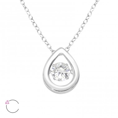 "Pear with Swarovski  ""Dancing"" zirconia stone - 925 Sterling Silver Necklace With Stones A4S40211"