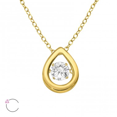"Pear With Swarovski ""dancing"" zirconia stone - 925 Sterling Silver Necklace With Stones A4S40212"