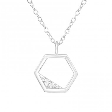 Hexagon - 925 Sterling Silver Necklace with stones A4S40216