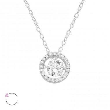 "Circle With Swarovski ""Dancing"" zirconia stone - 925 Sterling Silver Necklace With Stones A4S40219"