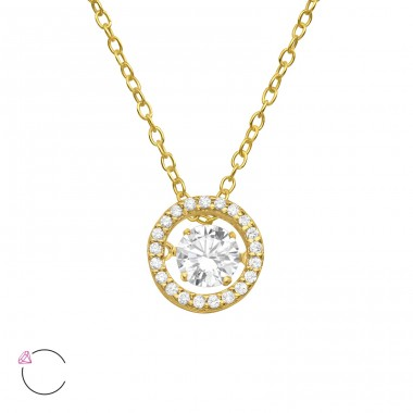 "Circle With Swarovski ""Dancing"" zirconia stone - 925 Sterling Silver Necklace With Stones A4S40220"