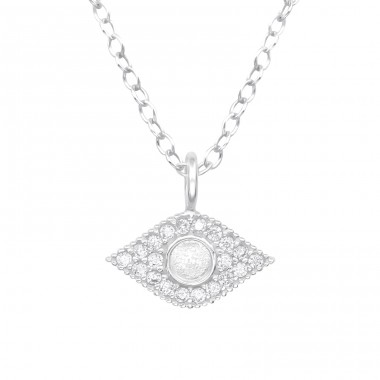 Evil Eye - 925 Sterling Silver Necklace with stones A4S40224