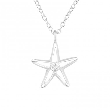 Starfish - 925 Sterling Silver Necklace with stones A4S40225