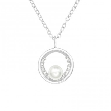Circle with pearl - 925 Sterling Silver Necklace With Stones A4S40227