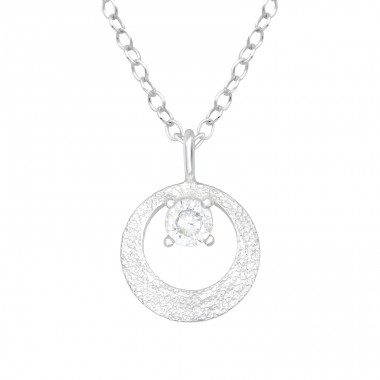 Opened circle with zirconia inside - 925 Sterling Silver Necklace With Stones A4S40229
