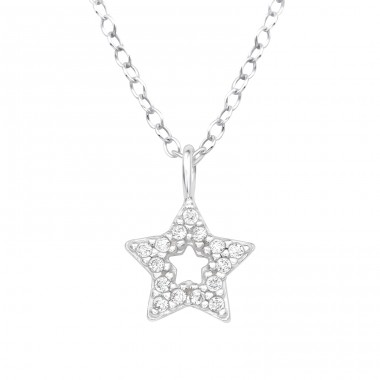 Star - 925 Sterling Silver Necklace with stones A4S40230