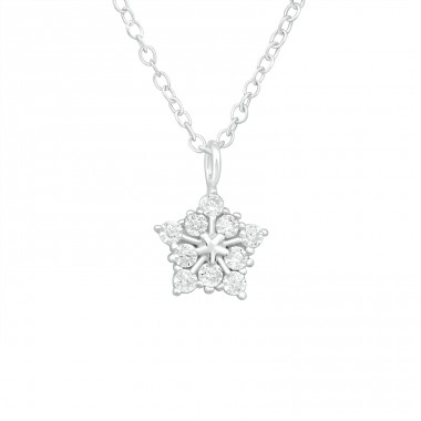 Star - 925 Sterling Silver Necklace with stones A4S40237