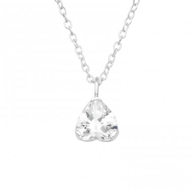 Upside down Heart - 925 Sterling Silver Necklace With Stones A4S40240