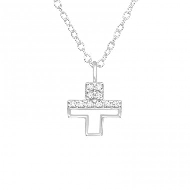 Cross - 925 Sterling Silver Necklace with stones A4S40241