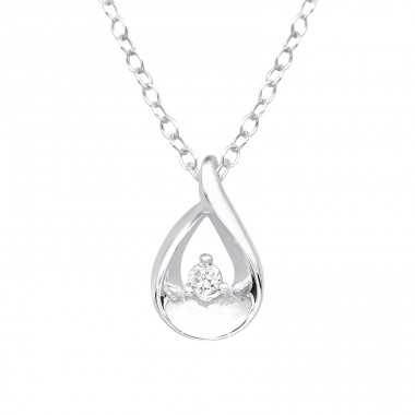 Teardrop - 925 Sterling Silver Necklace with stones A4S40242