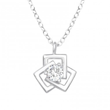 Geometric - 925 Sterling Silver Necklace with stones A4S40244