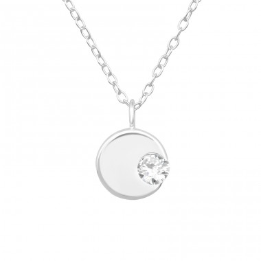 Round plate with crystal inside - 925 Sterling Silver Necklace With Stones A4S40245