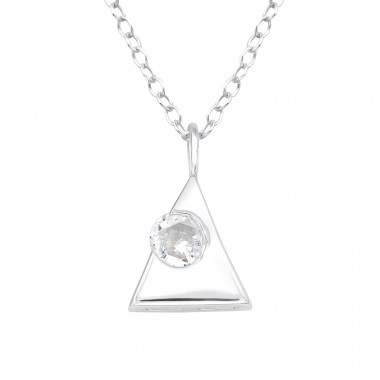 Triangle - 925 Sterling Silver Necklace with stones A4S40247