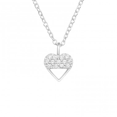 Heart - 925 Sterling Silver Necklace with stones A4S40248