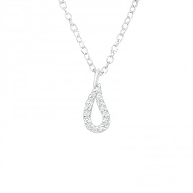 Teardrop - 925 Sterling Silver Necklace with stones A4S40249