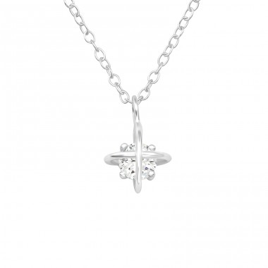 North Star - 925 Sterling Silver Necklace with stones A4S40251