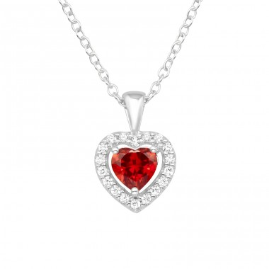Heart with Garnet Zirconia stone - 925 Sterling Silver Necklace With Stones A4S40257