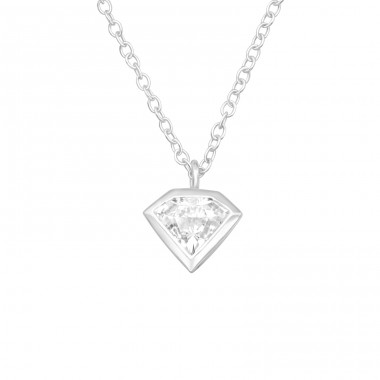 Diamond Shaped - 925 Sterling Silver Necklace with stones A4S40410