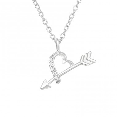 Heart And Arrow - 925 Sterling Silver Necklace with stones A4S40422